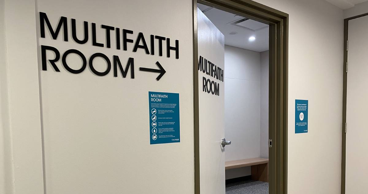 The multi-faith room at Casula Mall is limited to two people at a time as part of COVID-19 restrictions.