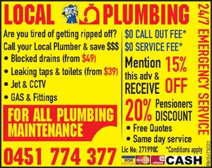 Plumbing Are you tired of getting ripped off?  Call your Local